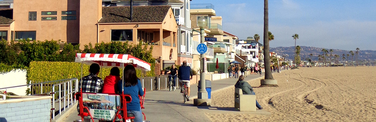 A family on a beach ride around Los Angeles, a top city for free things to do with kids.